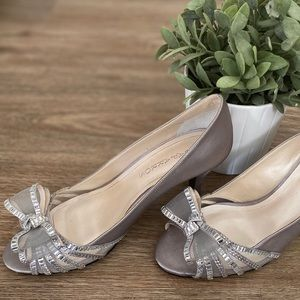 Shoes - Silver heels with bow | size 10